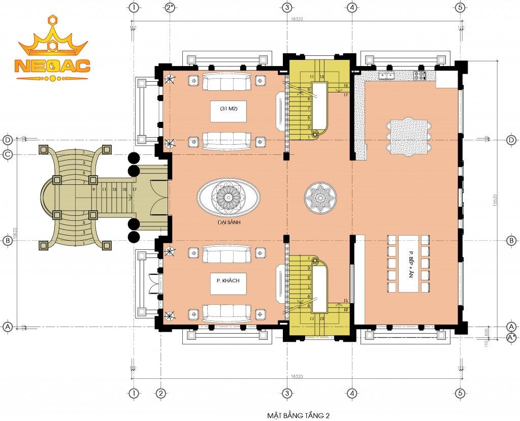 Kiến trúc biệt thự tân cổ điển 6 tầng 300m2