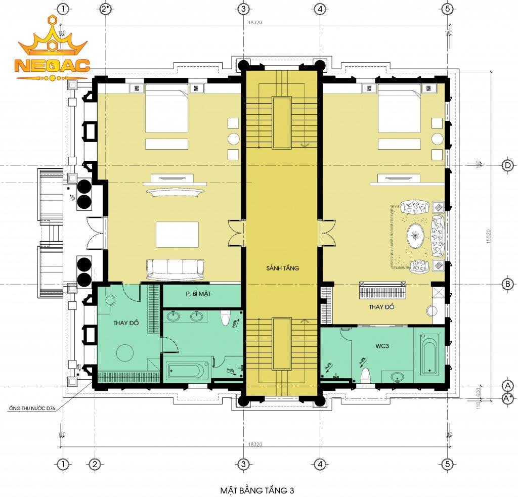 Thiết kế kiến trúc biệt thự tân cổ điển 6 tầng 300m2