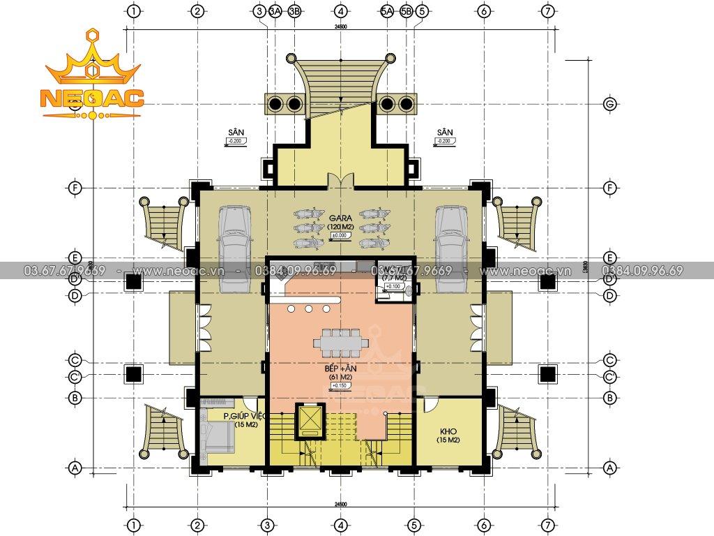 Thiết kế biệt thự Pháp 6 tầng 350m2