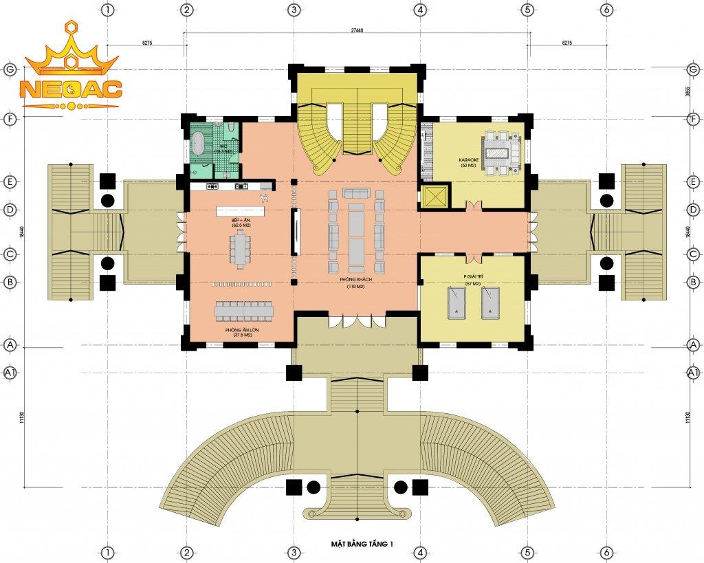 Thiết kế kiến trúc biệt thự Pháp 6 tầng 700m2