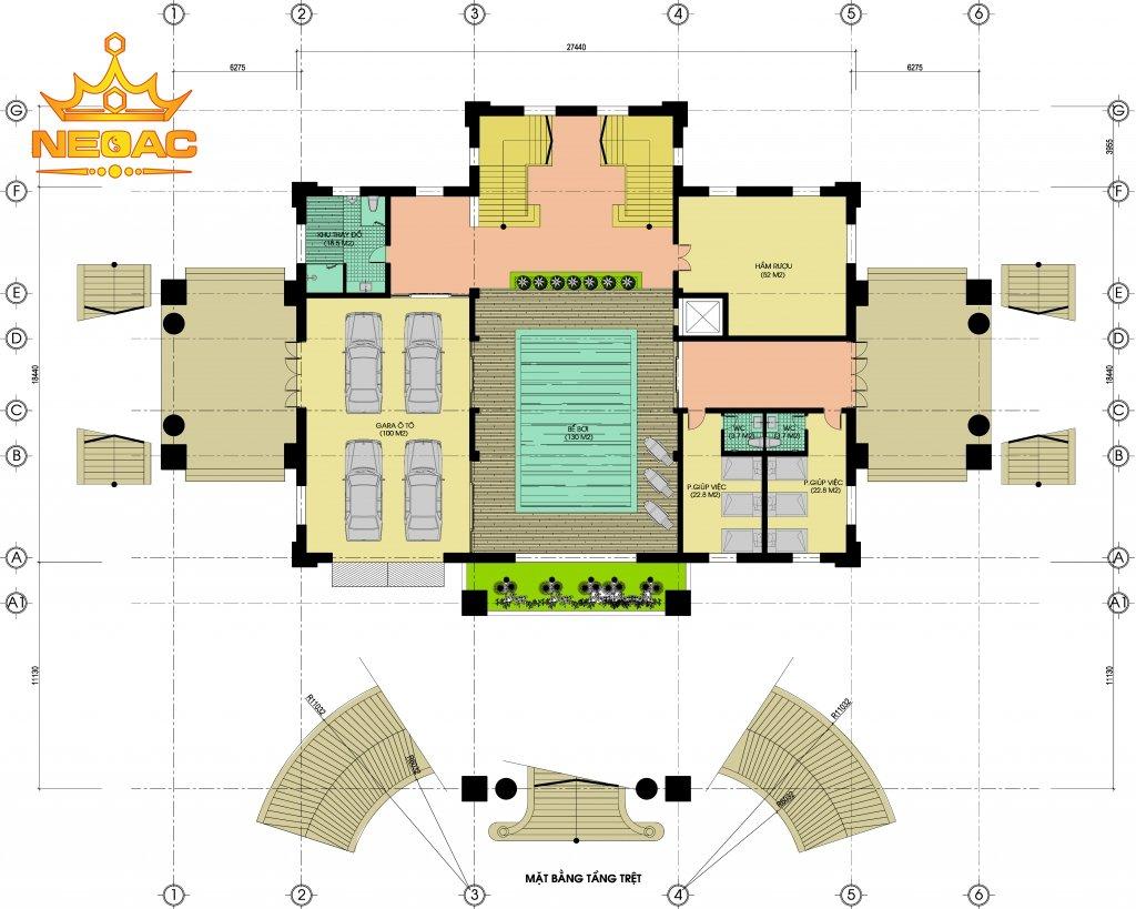 Xây dựng biệt thự Pháp 6 tầng 700m2