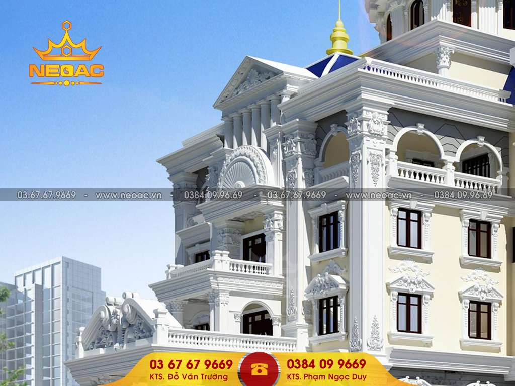 Kiến trúc biệt thự tân cổ điển 6 tầng 700m2