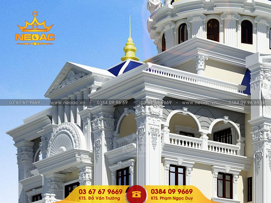 Thiết kế kiến trúc biệt thự tân cổ điển 6 tầng 700m2
