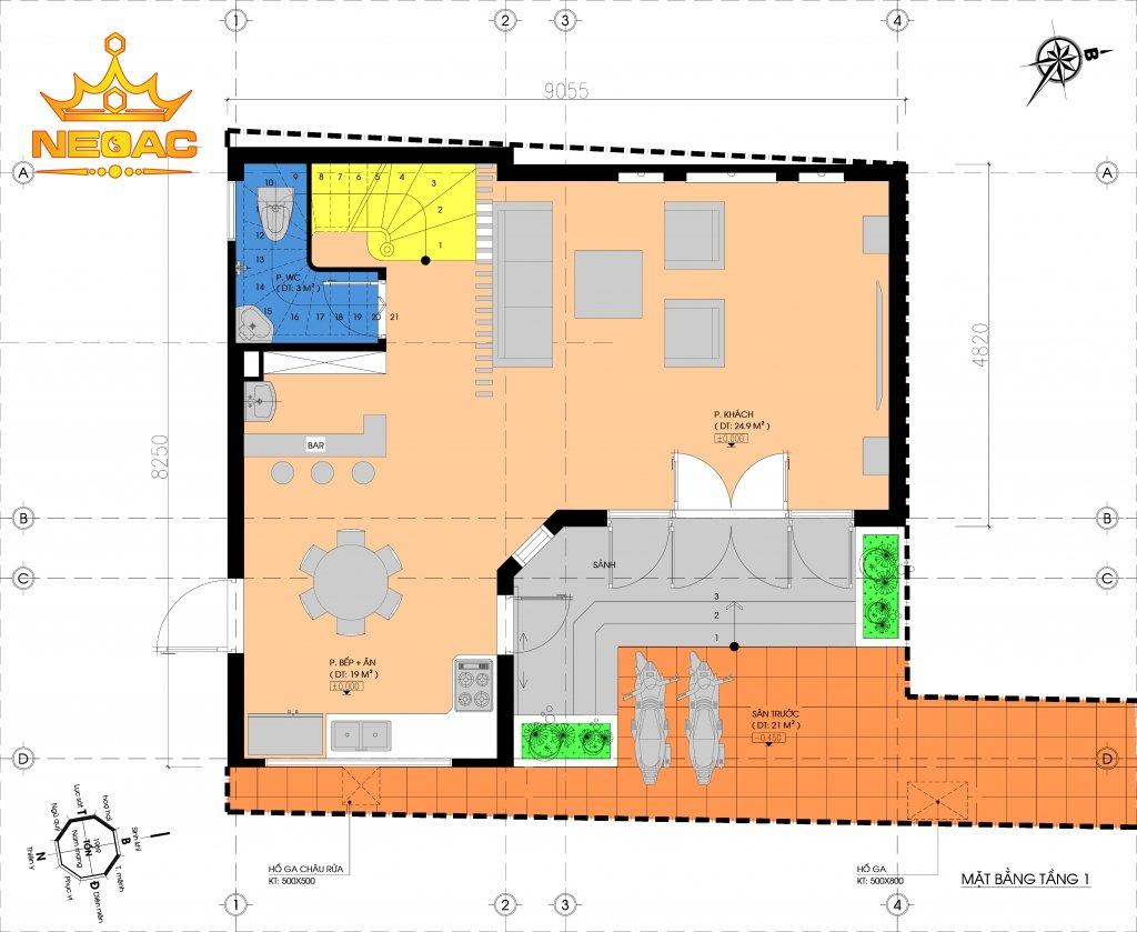 Hồ sơ xây dựng và bản vẽ kiến trúc nhà phố 4 tầng hiện đại 55m2