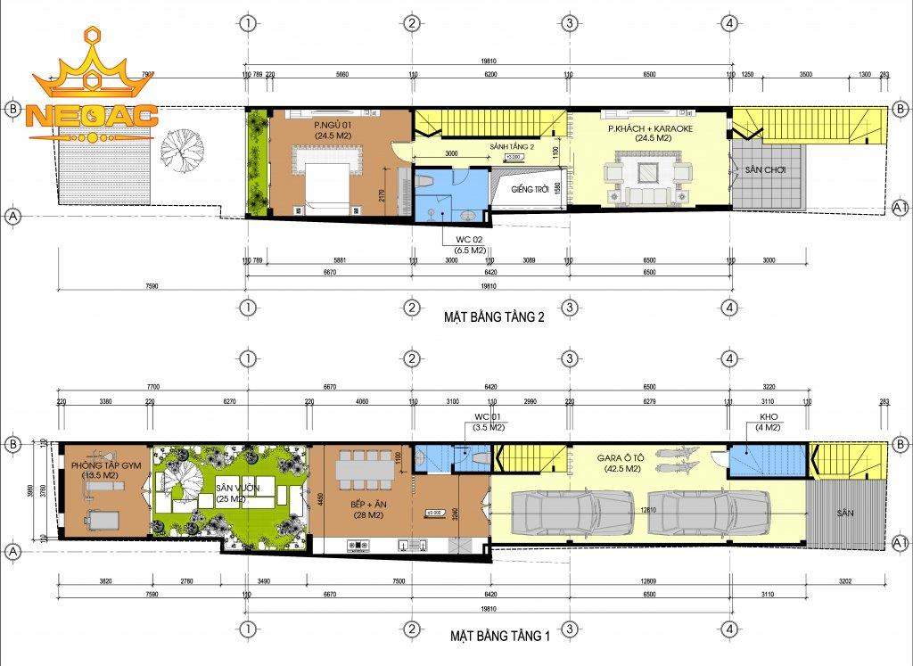 Hồ sơ xây dựng và bản vẽ kiến trúc nhà phố 4 tầng hiện đại 95m2