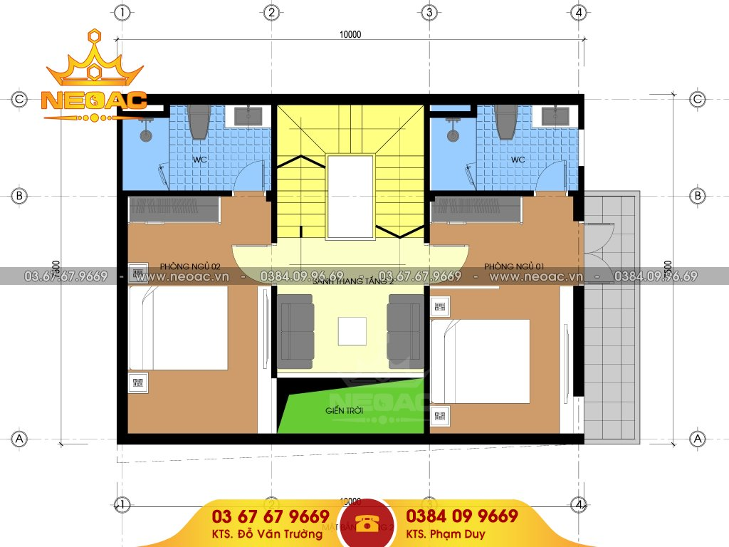 Thiết kế kiến trúc nhà phố 4 tầng hiện đại 75m2