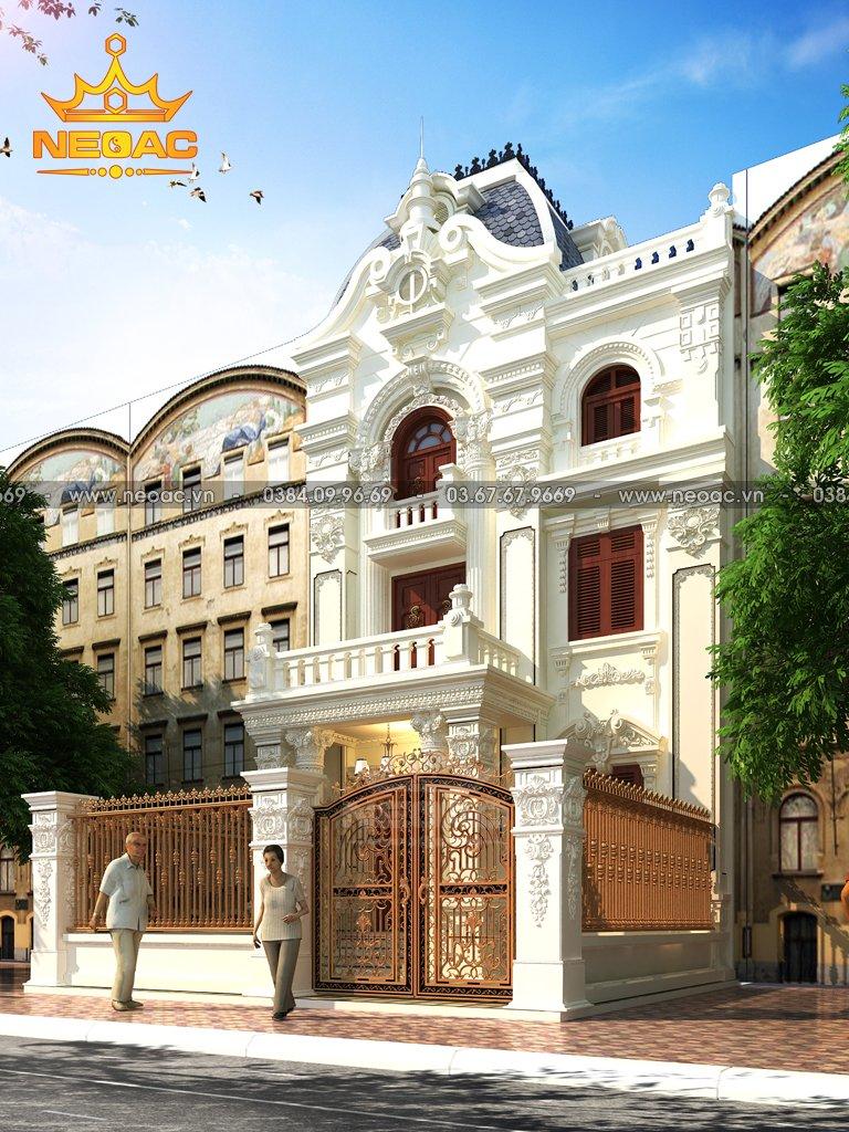Bản vẽ nhà phố 3 tầng tân cổ điển tại Phú Thọ