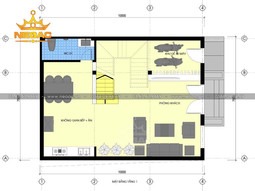 Thiết kế kiến trúc nhà phố 4 tầng hiện đại tại Phú Thọ