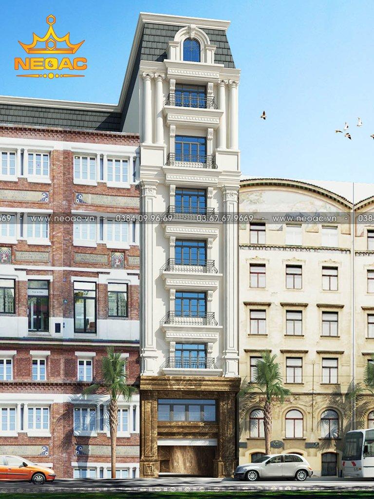 Thiết kế kiến trúc khách sạn 9 tầng tân cổ điển 281m2