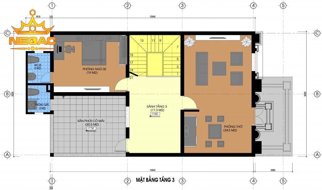 Dự án nhà phố 3 tầng tân cổ điển 200m2