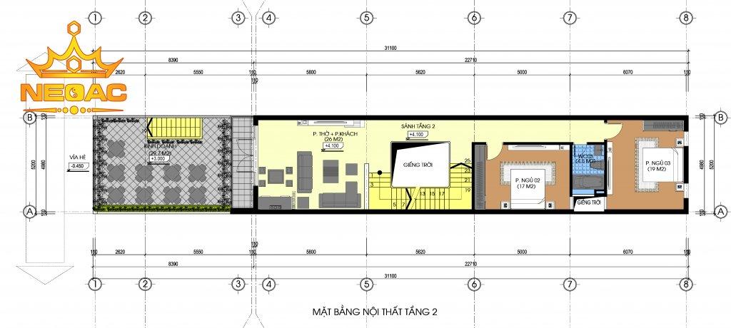 Thiết kế kiến trúc nhà phố 4 tầng hiện đại 160m2