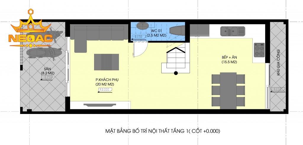 Dự án nhà phố 3 tầng hiện đại 60m2