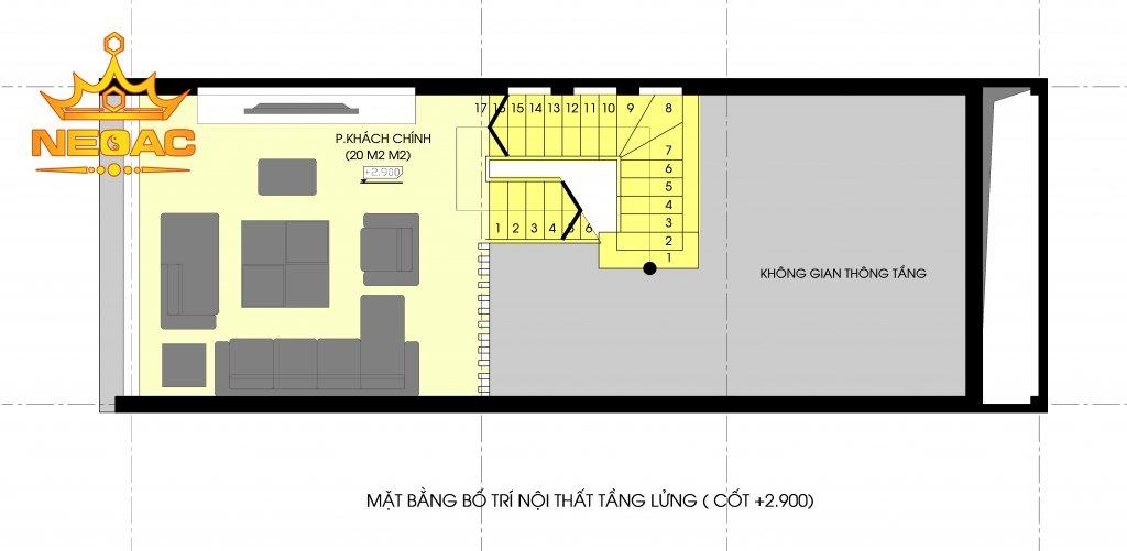 Công trình nhà phố 3 tầng hiện đại 60m2