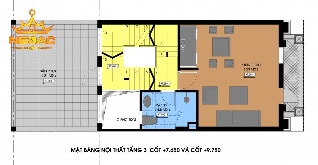 Thiết kế kiến trúc nhà phố 3 tầng tân cổ điển 74m2