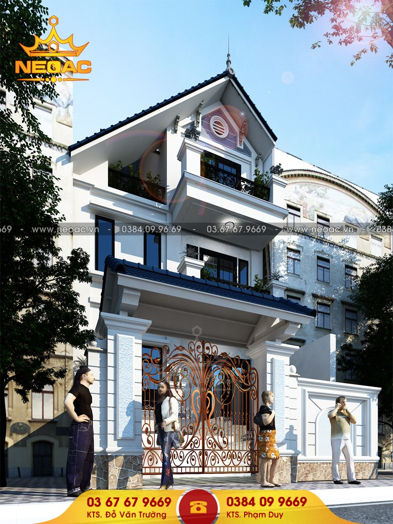 Thiết kế kiến trúc nhà phố 4 tầng tân cổ điển 90m2