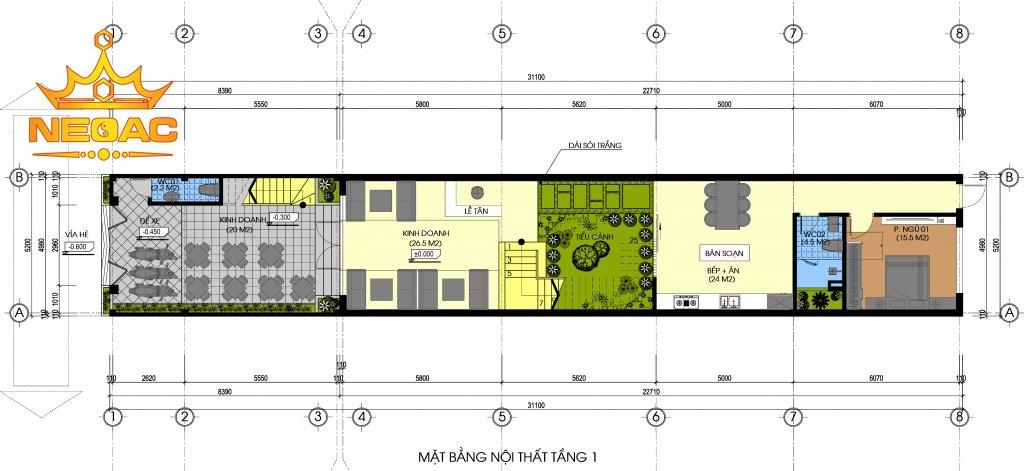 Bản vẽ nhà phố 4 tầng hiện đại mặt tiền 5m