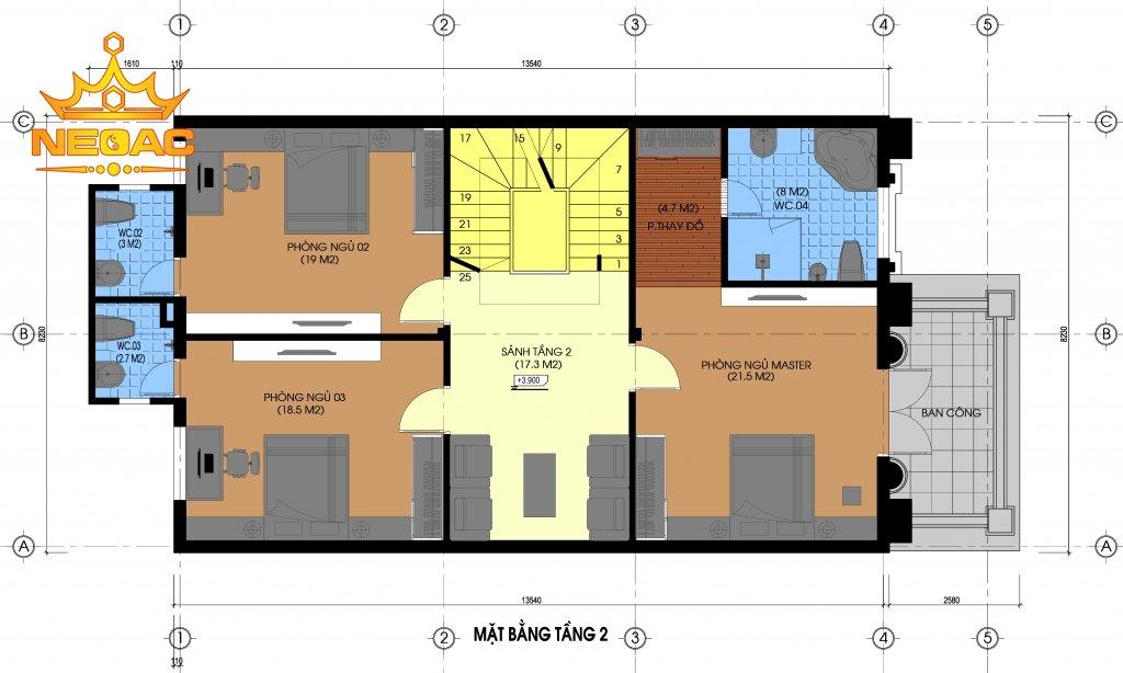 Xây dựng nhà phố 3 tầng tân cổ điển 130m2