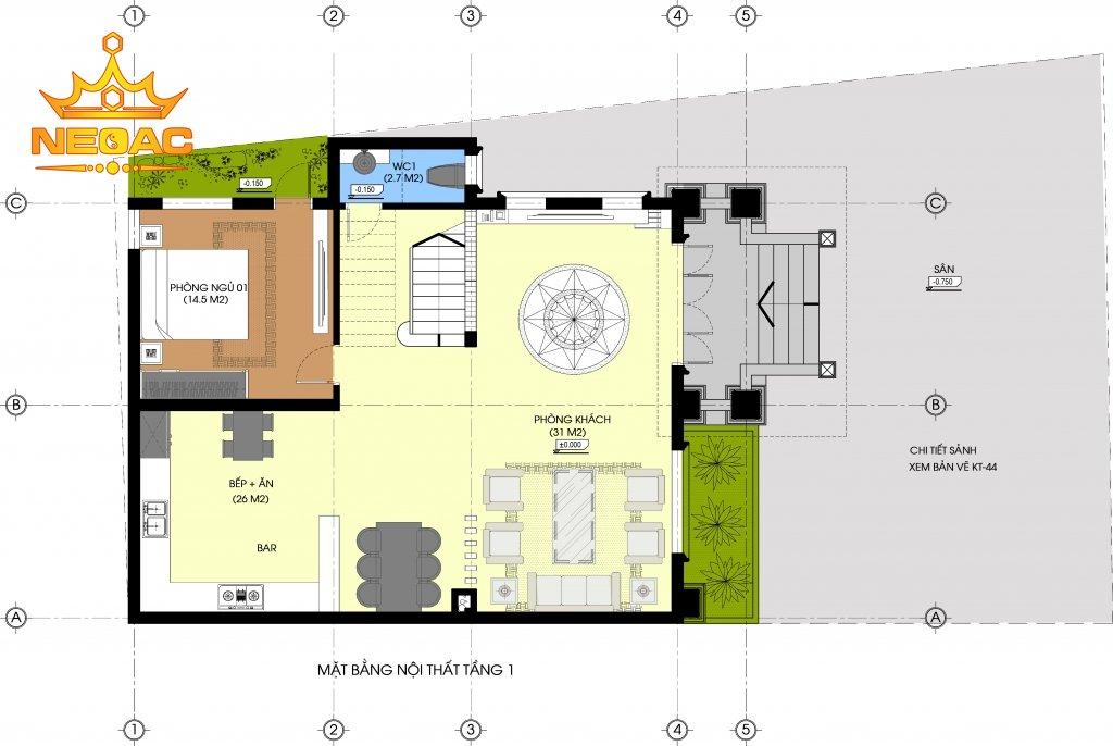 Dự án nhà phố 2 tầng tân cổ điển 115m2