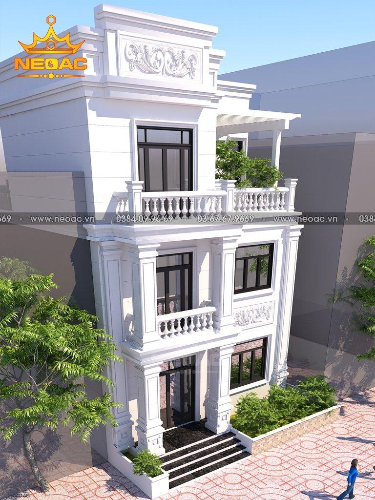 Bản vẽ nhà phố 2 tầng tân cổ điển 115m2