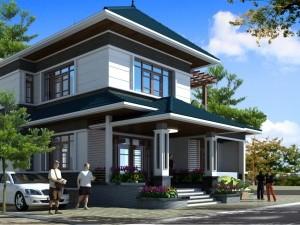 Hồ sơ xây dựng và bản vẽ kiến trúc biệt thự 2 tầng hiện đại 140m2
