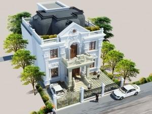 Hồ sơ xây dựng và bản vẽ kiến trúc biệt thự 2 tầng tân cổ điển 160m2
