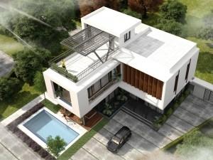 Hồ sơ xây dựng và bản vẽ kiến trúc biệt thự 2 tầng hiện đại 160m2