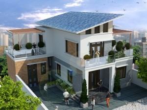 Hồ sơ xây dựng và bản vẽ kiến trúc biệt thự 2 tầng mái lệch 125m2