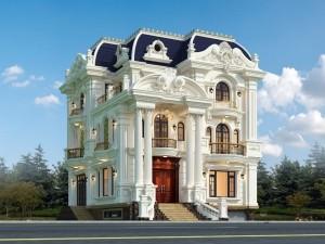 Hồ sơ xây dựng và bản vẽ kiến trúc biệt thự 3 tầng tân cổ điển 150m2