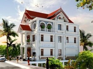 Hồ sơ xây dựng và bản vẽ kiến trúc biệt thự 3 tầng tân cổ điển 160m2