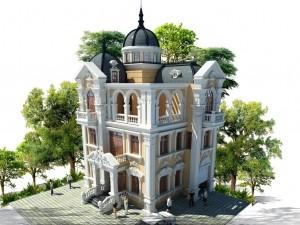 Hồ sơ xây dựng và bản vẽ kiến trúc biệt thự 4 tầng tân cổ điển 110m2