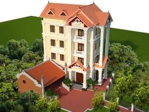 Hồ sơ xây dựng và bản vẽ kiến trúc biệt thự 4 tầng tân cổ điển 90m2
