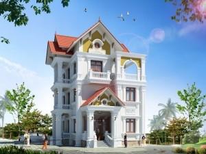 Hồ sơ xây dựng và bản vẽ kiến trúc biệt thự 4 tầng tân cổ điển 120m2