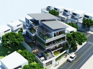Hồ sơ xây dựng và bản vẽ kiến trúc biệt thự 5 tầng hiện đại 155m2