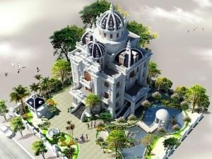 Hồ sơ xây dựng và bản vẽ kiến trúc biệt thự 6 tầng tân cổ điển 350m2