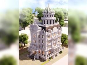 Hồ sơ xây dựng và bản vẽ kiến trúc biệt thự 6 tầng tân cổ điển 250m2