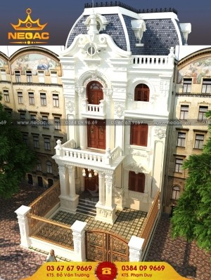 Xây nhà phố 3 tầng tân cổ điển 130m2 vạn người mê