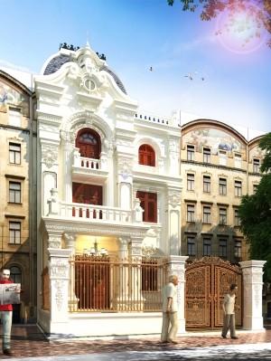 Hồ sơ xây dựng nhà phố 3 tầng tân cổ điển mặt tiền 8m