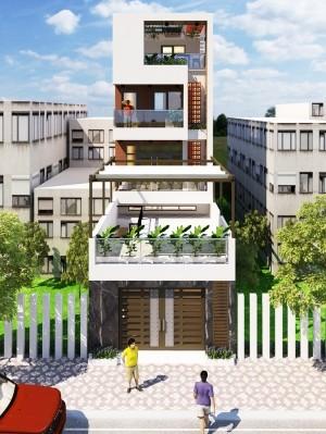 Hồ sơ xây dựng nhà phố 4 tầng hiện đại mặt tiền 5m