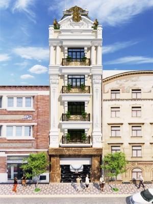 Hồ sơ thiết kế kiến trúc khách sạn 6 tầng tân cổ điển 134m2
