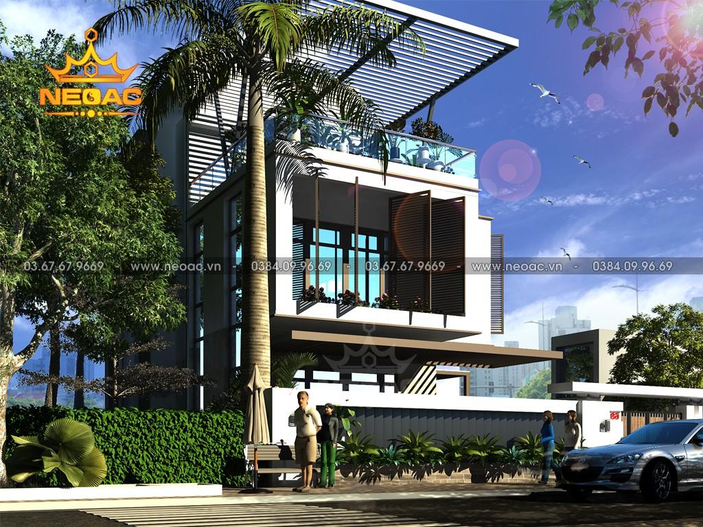 Thiết kế nhà chữ L 120m2 2 tầng