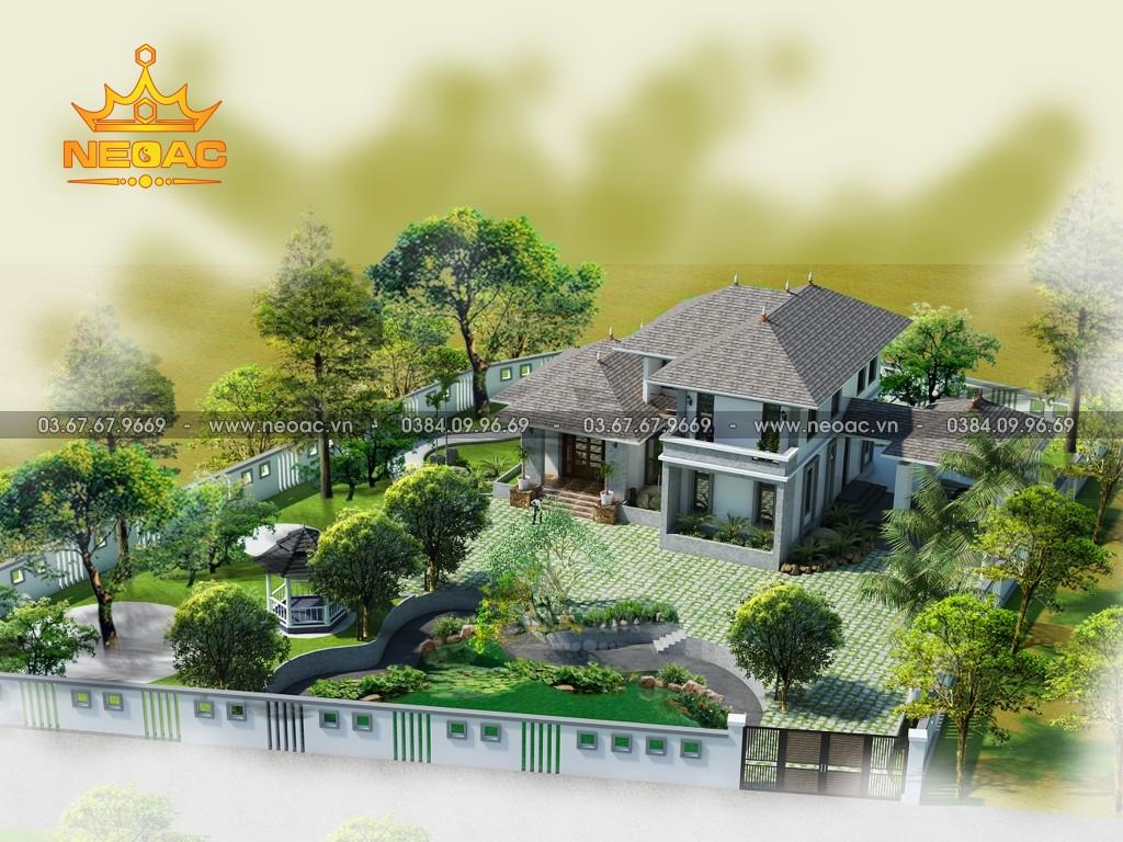 Xây dựng biệt thự 2 tầng mái Thái 250m2