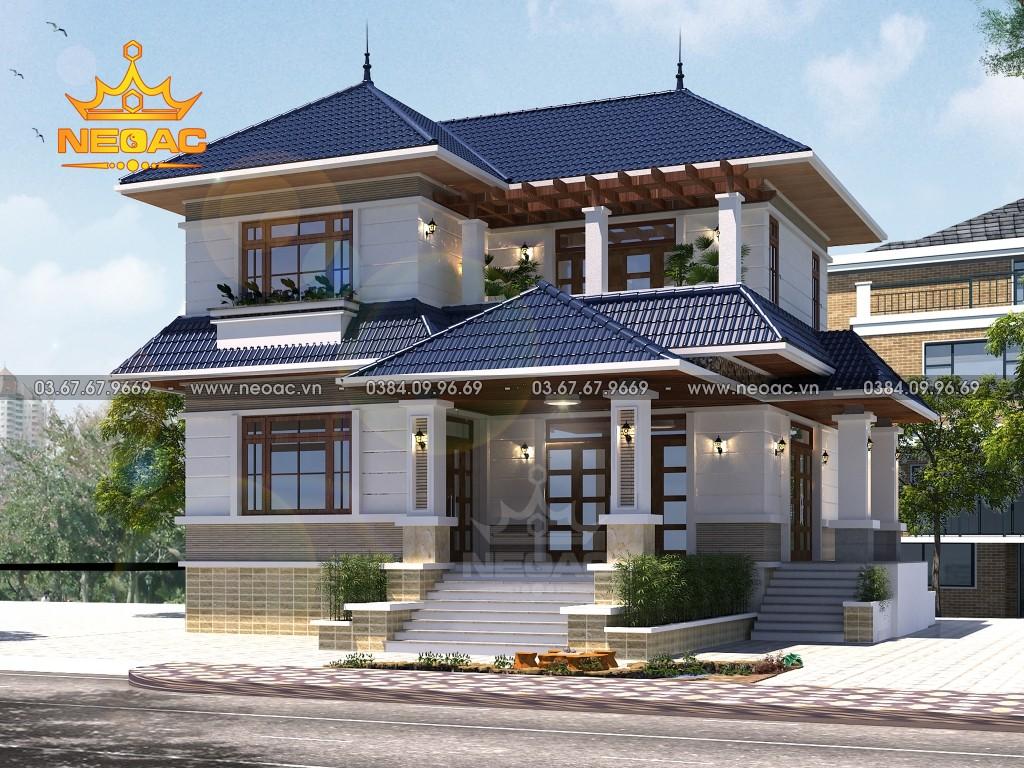 Bản vẽ biệt thự 2 tầng mái Thái 130m2