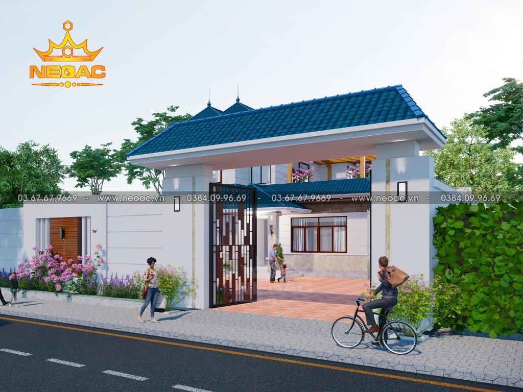Bản vẽ biệt thự 2 tầng mái Thái 220m2