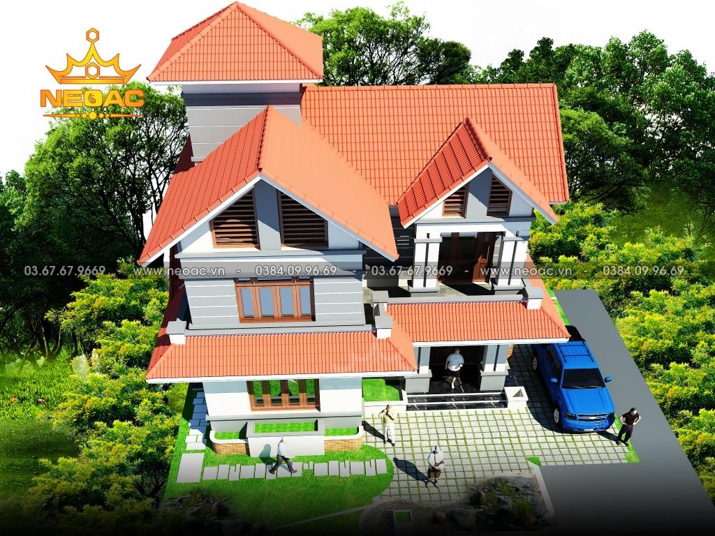 Bản vẽ biệt thự 2 tầng mái Thái 100m2