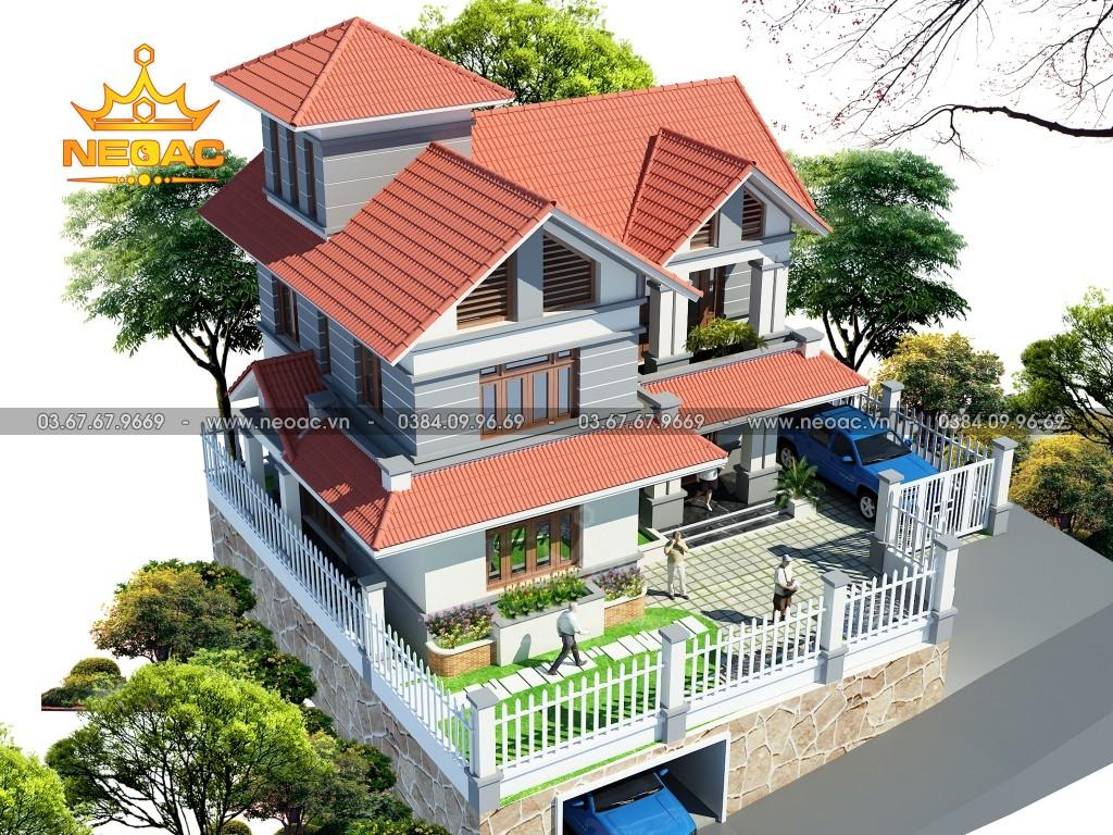 Thiết kế biệt thự 2 tầng mái Thái 100m2