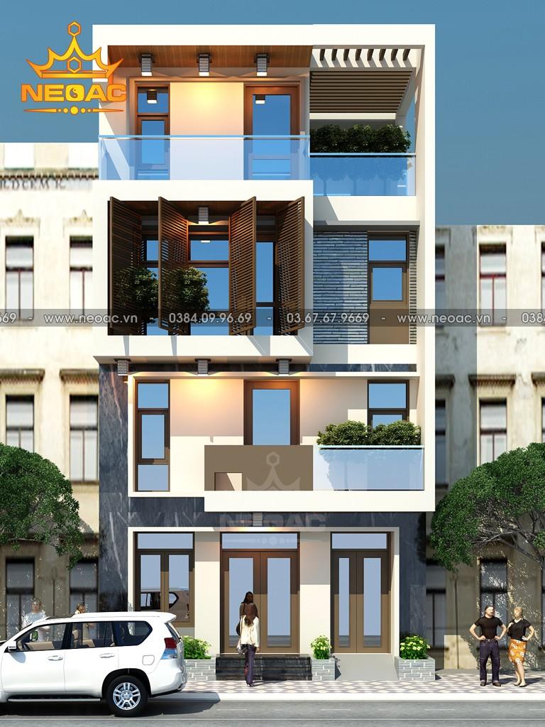 Bản vẽ thiết kế kiến trúc nhà phố 4 tầng hiện đại 75m2