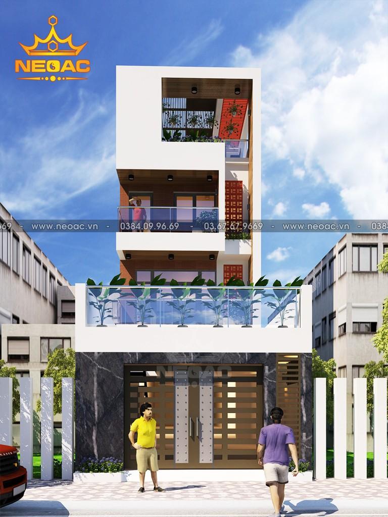 Hồ sơ thiết kế kiến trúc nhà phố 4 tầng hiện đại 160m2